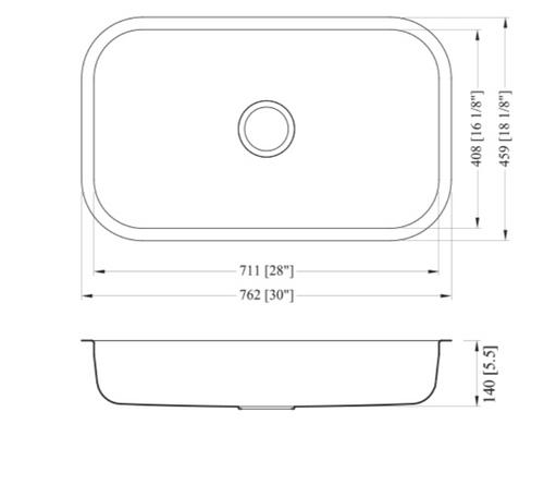 Dakota Genesis Series 30x18 18g ADA Stainless Steel Sink