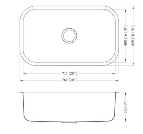 Dakota Genesis Series 30x18 18g Stainless Steel Sink Single Bowl