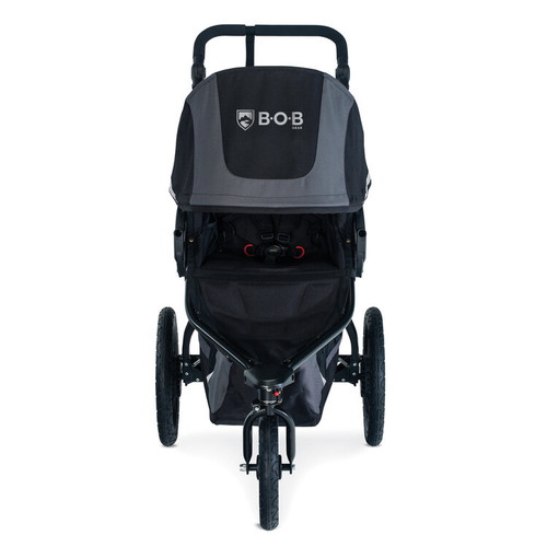 BOB Revolution Flex 3.0 Graphite Black (U221947) front 45 view - canopy closed