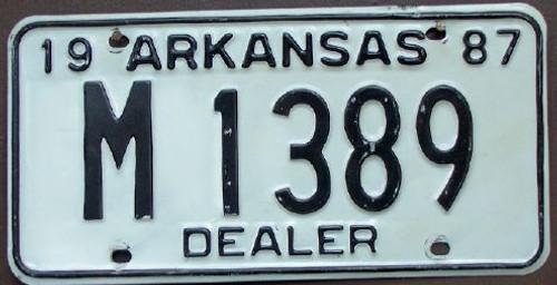 1987 Arkansas License Plate DEALER M 1389