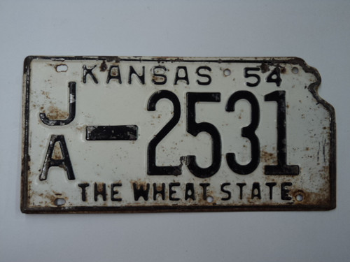 1954 KANSAS State Shaped License Plate JA 2531