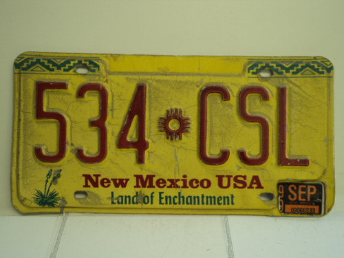 1999 NEW MEXICO Land of Enchantment License Plate 534 CSL