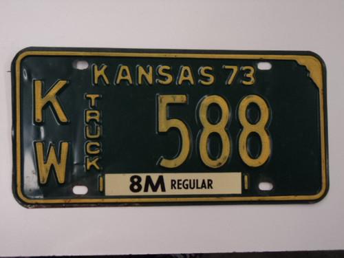 1973 KANSAS 8M Truck License Plate KW 588