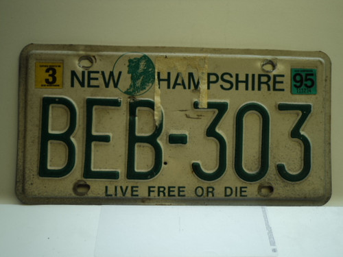 1995 NEW HAMPHIRE Live free or Die License Plate BEB 303