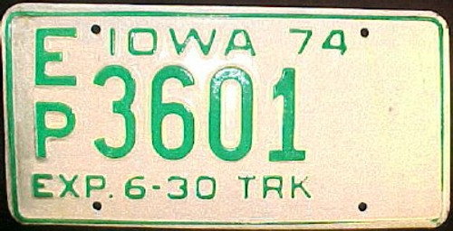 1974 Iowa EP Truck 3601 License Plate