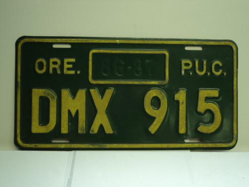 1986 1987 OREGON Public Utilities Commision PUC License Plate DMX 915