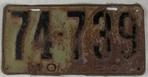 1920 Missouri License Plate 74-739 DMV Clear