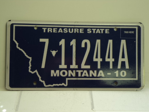 2010  MONTANA Treasure State License Plate 7 11244A