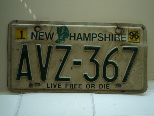 1996 NEW HAMPSHIRE Live Free or Die License Plate AVZ 367