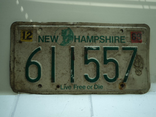 1989 NEW HAMPSHIRE Live Free or Die License Plate 611557
