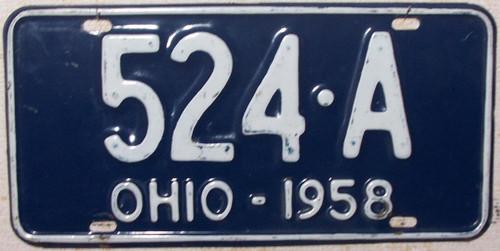 1958 Ohio 524-A License Plate