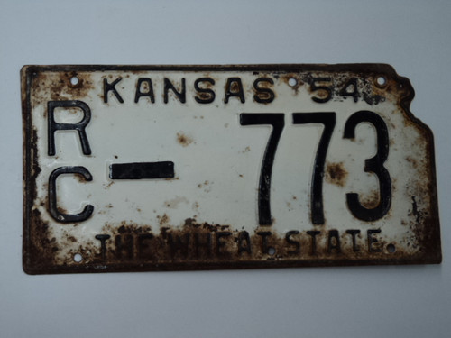 1954 KANSAS State Shaped License Plate RC 773