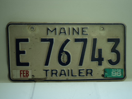 1996 MAINE Trailer License Plate E 76743