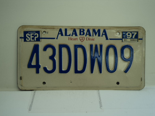 1997 ALABAMA Heart of Dixie License Plate 43DDW09