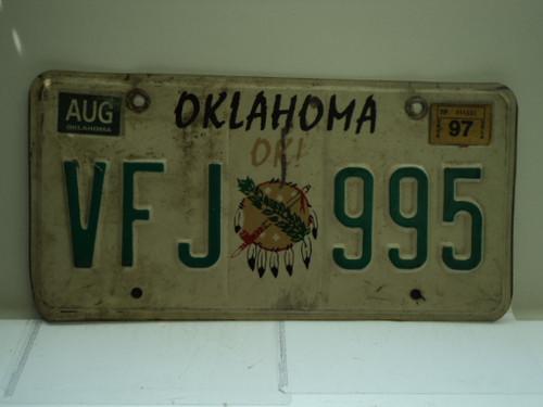 1997 OKLAHOMA OK License Plate VFJ 995