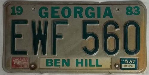 1983 1985 1987 Georgia EWF 560 License Plate