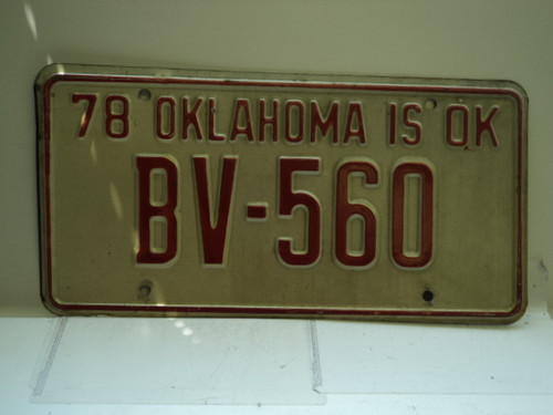 1978 OKLAHOMA Bicentennial License Plate BV 560