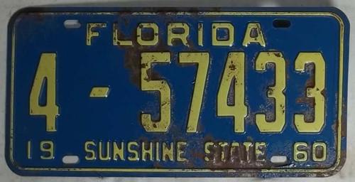 1960 Florida 4-57433 License Plate