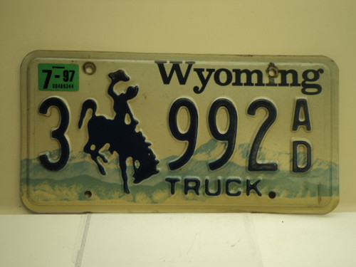 1997 Wyoming Truck License Plate 3 992 AD