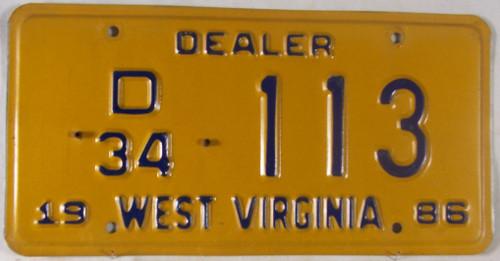 1986 West Virginia Dealer D 34 113 License Plate