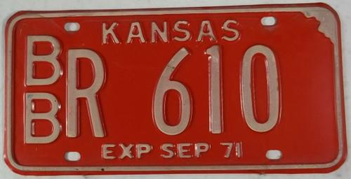 1971 Bourbon Co Kansas BB R 610 License Plate