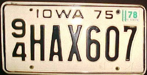 1978 Iowa 94 Webster County License Plate