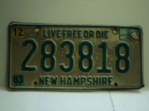 1983 1987 NEW HAMPHIRE Live free or Die License Plate 283818
