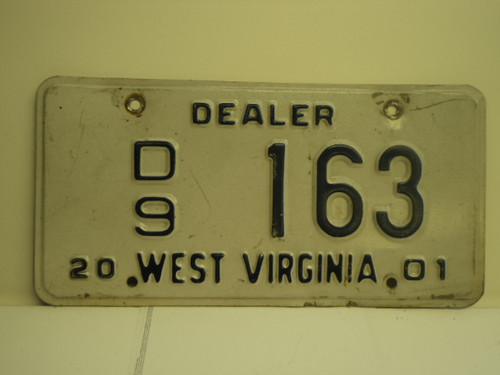 2001 WEST VIRGINIA Dealer Car License Plate D9 163