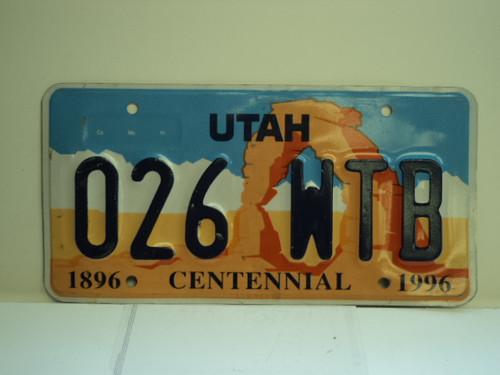 UTAH Centennial 1896 1996 License Plate 026 WTB