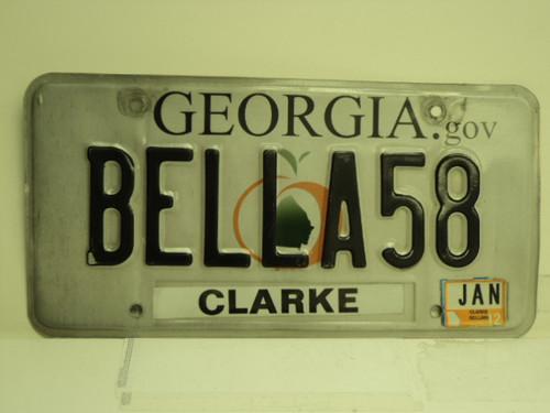 2012 GEORGIA Vanity License Plate BELLA58