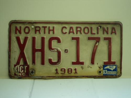 1983 NORTH CAROLINA License Plate XHS 171