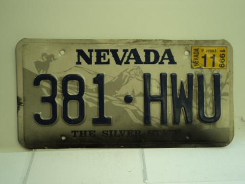 1999 NEVADA Silver State License Plate 381 HWU