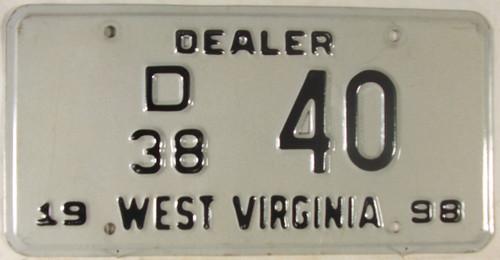 1998 West Virginia Dealer D 38 40 License Plate