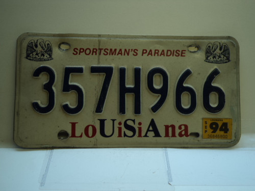 1994 LOUISIANA Sportsmans Paradise License Plate 357H966