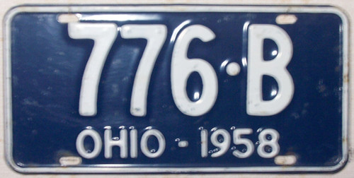 1958 Ohio 776-B License Plate