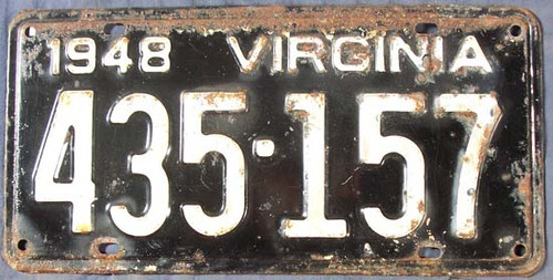 1948 Virginia 435-157 License Plate
