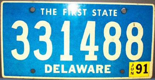 1991 Jun Delaware 331488 First State License Plate