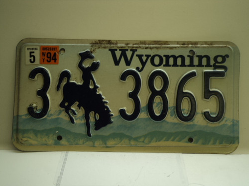 1994 Wyoming License Plate 3 3865