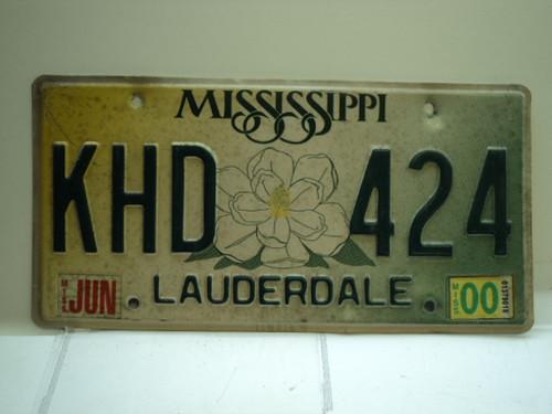 2000 MISSISSIPPI Magnolia License Plate KHD 424