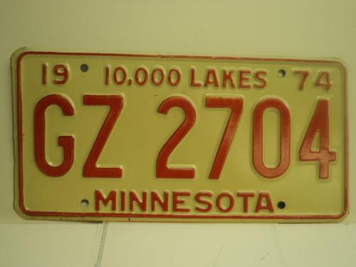 1974 MINNESOTA 10000 Lakes License Plate GZ 2704