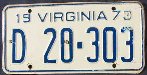 1973 Virginia D 20 303 License Plate DEALER