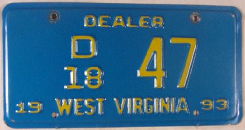 1993 West Virginia Dealer D 18 47 License Plate