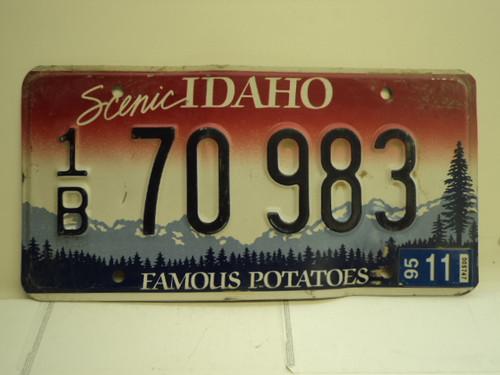 1995 IDAHO Famous Potatoes License Plate 1B 70 983