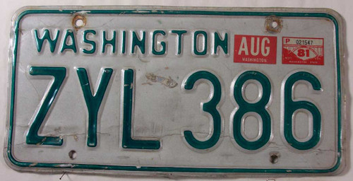 1981 Aug Washington ZYL 386 License Plate