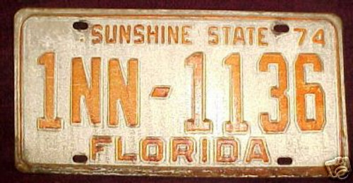 1974 Dade Co Florida License Plate 1NN1136