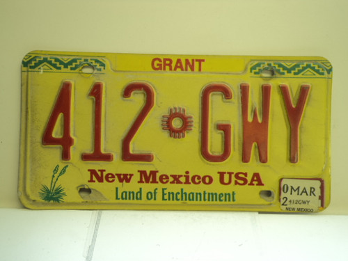2002 NEW MEXICO Land Of Enchantment License Plate 412 GWY