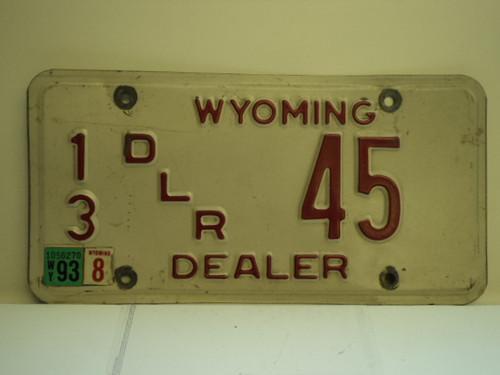 1993 WYOMING Dealer License Plate  13 45