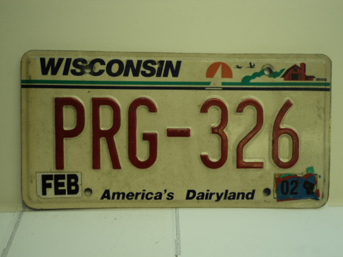 2002 WISCONSIN America's Dairyland License Plate PRG 326