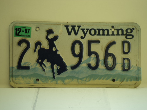 1997 WYOMING Bucking Bronco License Plate 2 956 DD