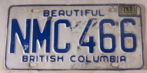 1978 British Columbia License Plate NMC 466